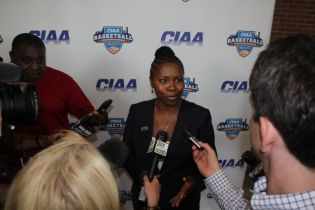 CIAA Commissioner Jacqie Carpenter speaks at press conference
