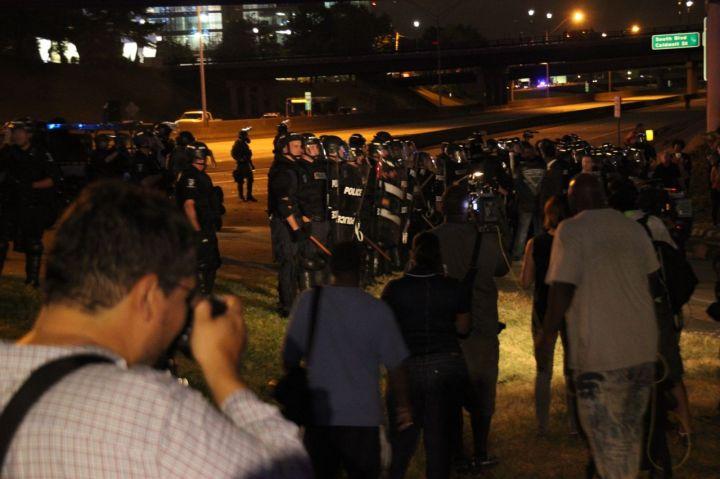 Police Disperse Protestors On I-277
