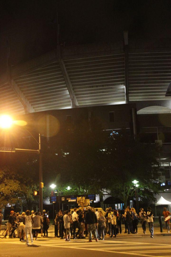 Protestors March To Bank of America Stadium