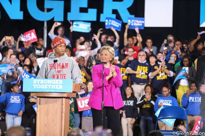 Pharrell at Hillary Clinton Rally In Raleigh