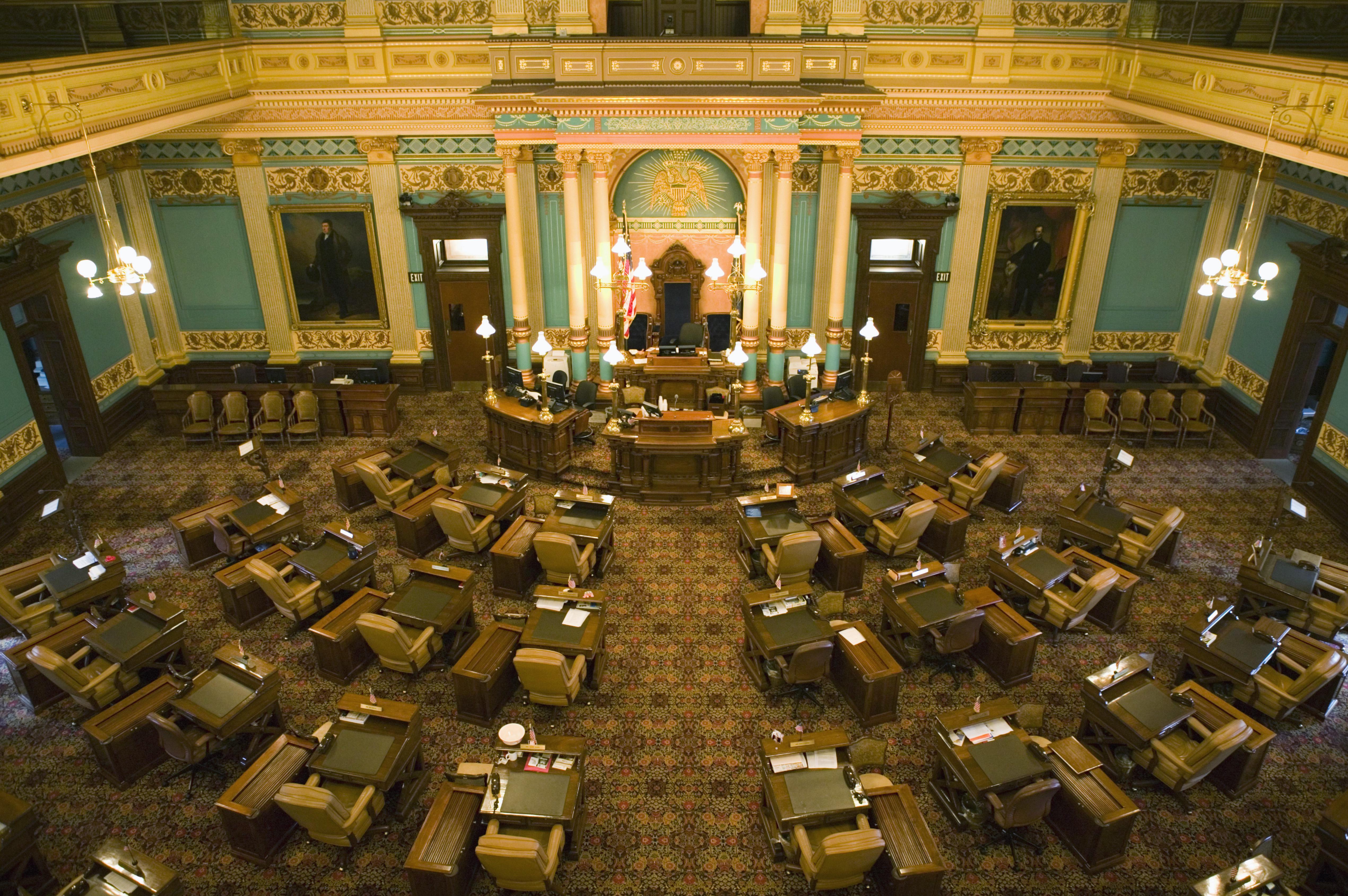 State Senate Chamber in Michigan State Capitol, Lansing, Michigan, USA