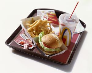 Fast food on tray